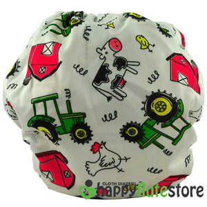 Happy Flute Pocket Cloth Diaper - Farm (back)