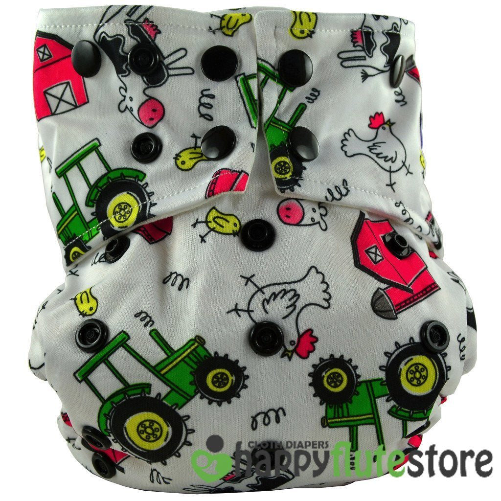 Happy Flute All in One Charcoal Bamboo Cloth Diaper - Farm (front)