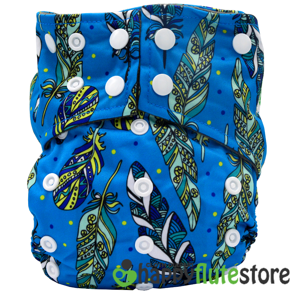 Happy Flute All in One Charcoal Bamboo Cloth Diaper - Feathers