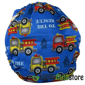 Happy Flute All in One Charcoal Bamboo Cloth Diaper - Fire Trucks (back)