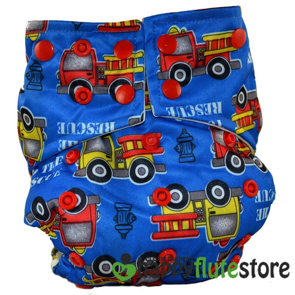 Happy Flute All in One Charcoal Bamboo Cloth Diaper - Fire Trucks