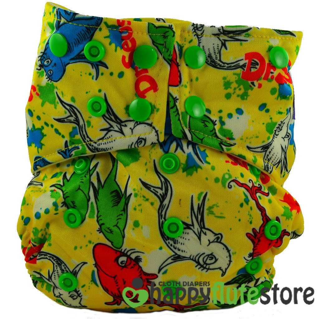 Happy Flute All in One Charcoal Bamboo Cloth Diaper - Fish (front)