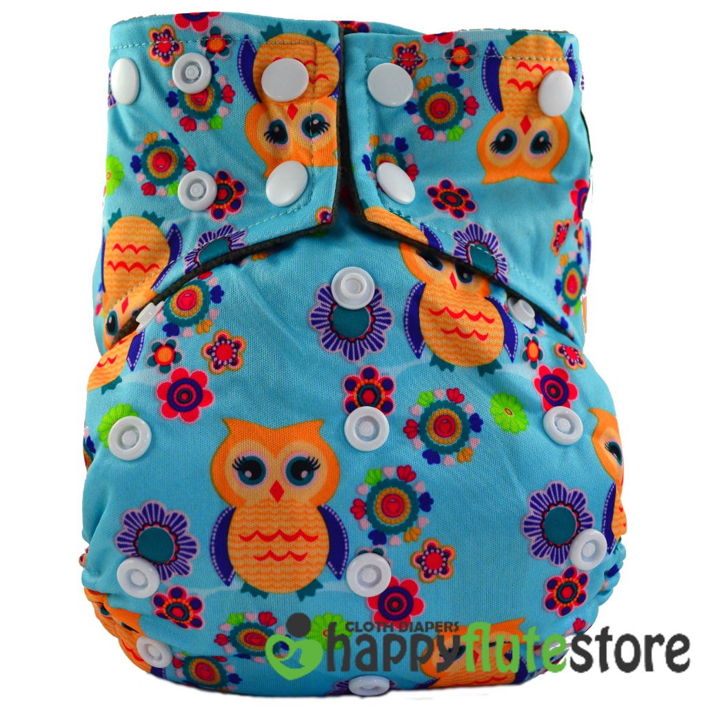 Happy Flute All in One Charcoal Bamboo Cloth Diaper - Flower Owl Blue (front)