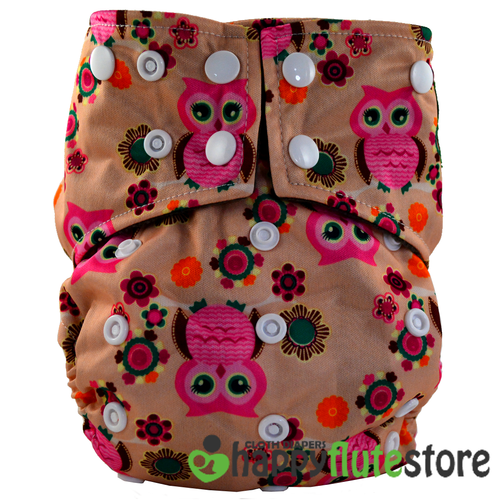 Happy Flute All in One Charcoal Bamboo Cloth Diaper - Flower Owl Pink (front)