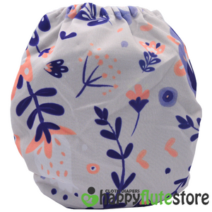 Happy Flute  All in One Charcoal Bamboo Cloth Diaper - Flowers