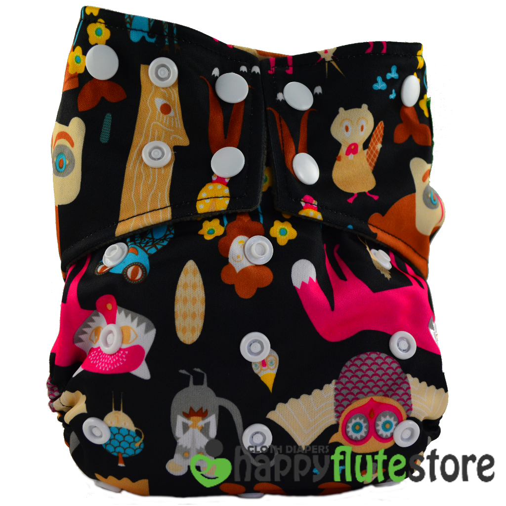 Happy Flute All in One Cotton Bamboo Cloth Diaper -  Forest Creatures