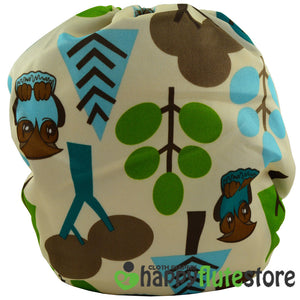 Happy Flute Heavy Wetter Cloth Diaper - Forest Friends (back)
