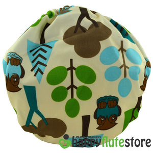 Happy Flute All in One Charcoal Bamboo Cloth Diaper - Forest Friends (back)