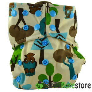 Happy Flute All in One Charcoal Bamboo Cloth Diaper - Forest Friends