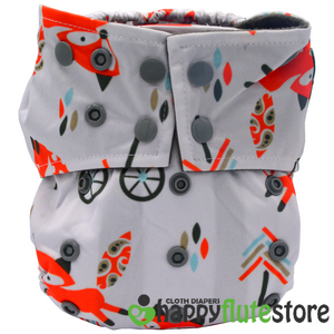 Happy Flute All in One Charcoal Bamboo Cloth Diaper - Fox
