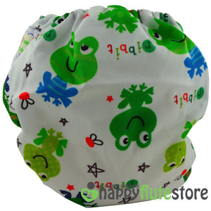 Happy Flute Heavy Wetter Cloth Diaper - Frogs (back)
