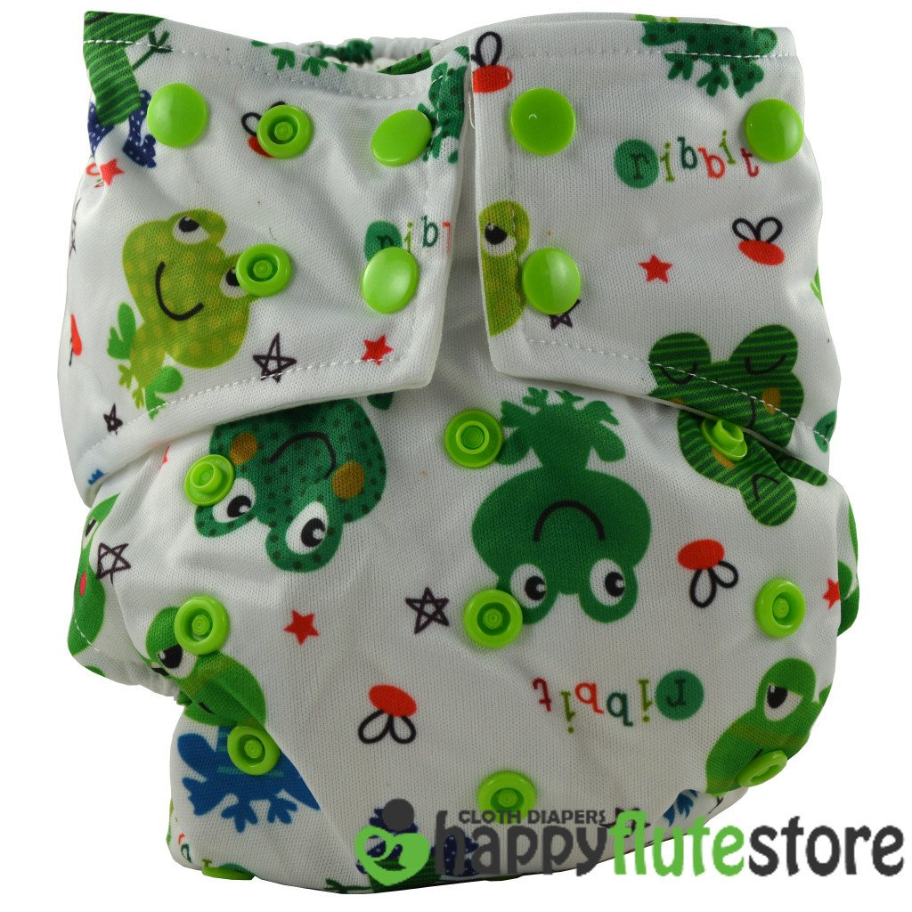 Happy Flute All in One Cotton Bamboo Cloth Diaper - Frogs