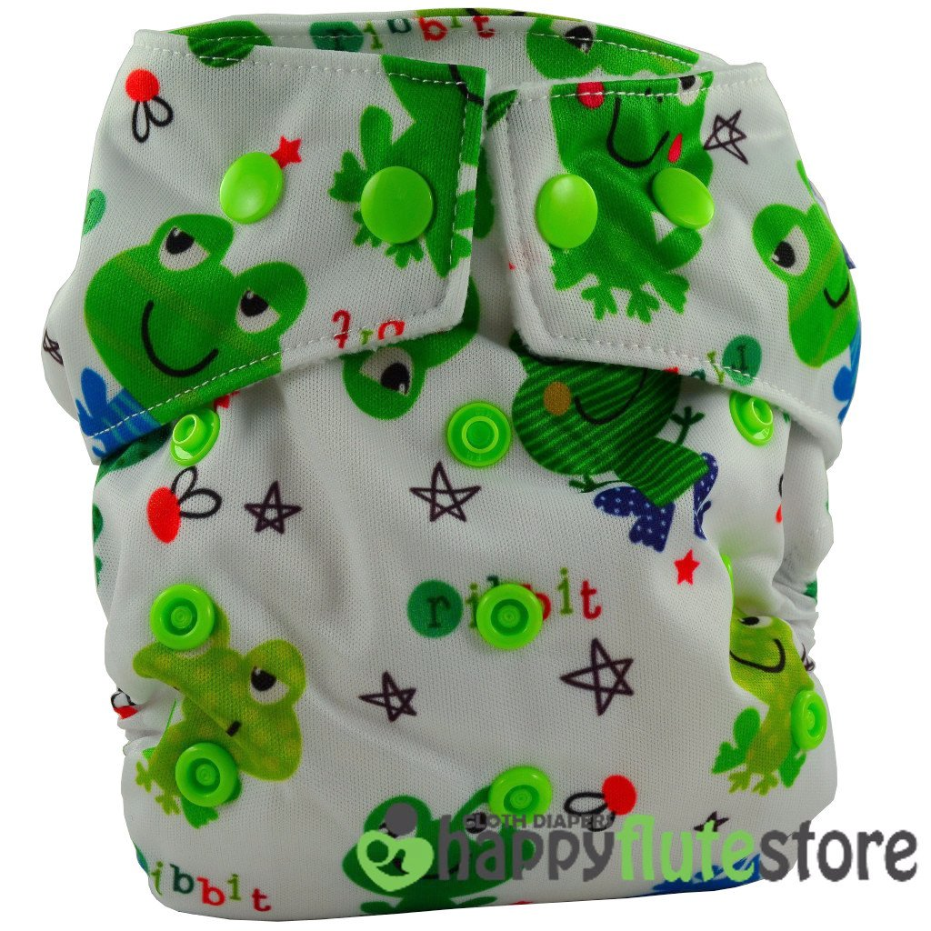 Happy Flute Heavy Wetter Cloth Diaper - Frogs