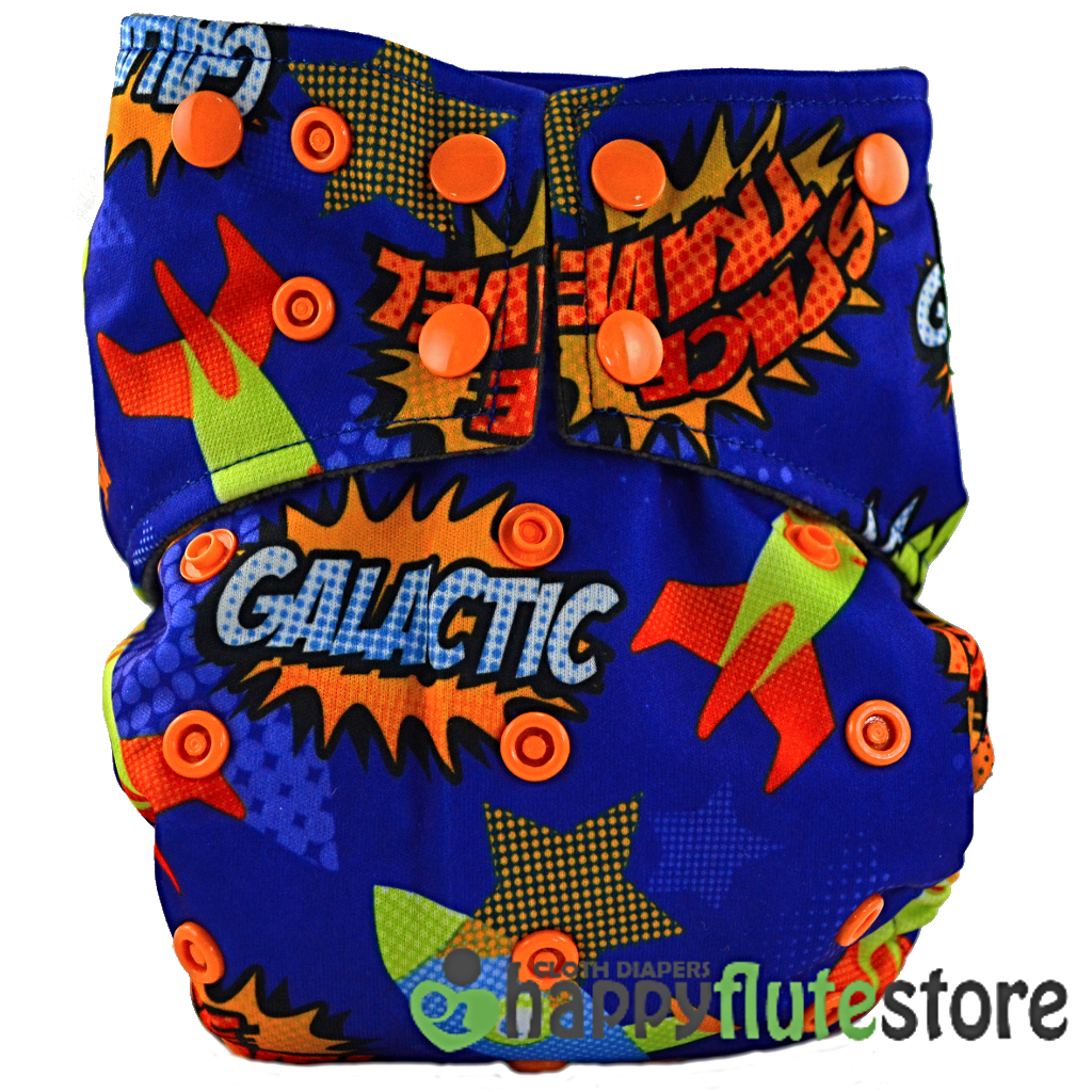 Happy Flute All in One Charcoal Bamboo Cloth Diaper - Galactic (front)