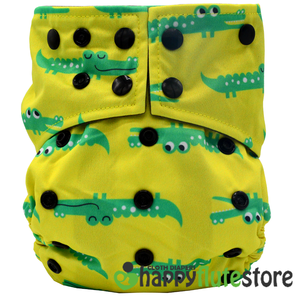 Happy Flute All in One Charcoal Bamboo Cloth Diaper - Gators