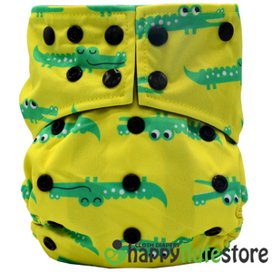 Happy Flute Heavy Wetter 2.0 Pure Bamboo Cloth Diaper - Gators