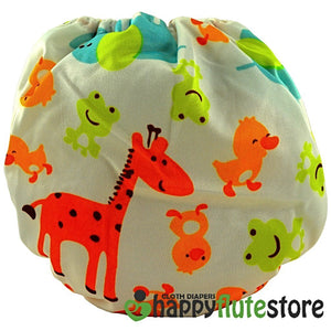 Happy Flute All in One Charcoal Bamboo Cloth Diaper - Giraffe and Friends (back)