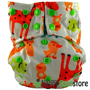 Happy Flute All in One Charcoal Bamboo Cloth Diaper - Giraffe and Friends