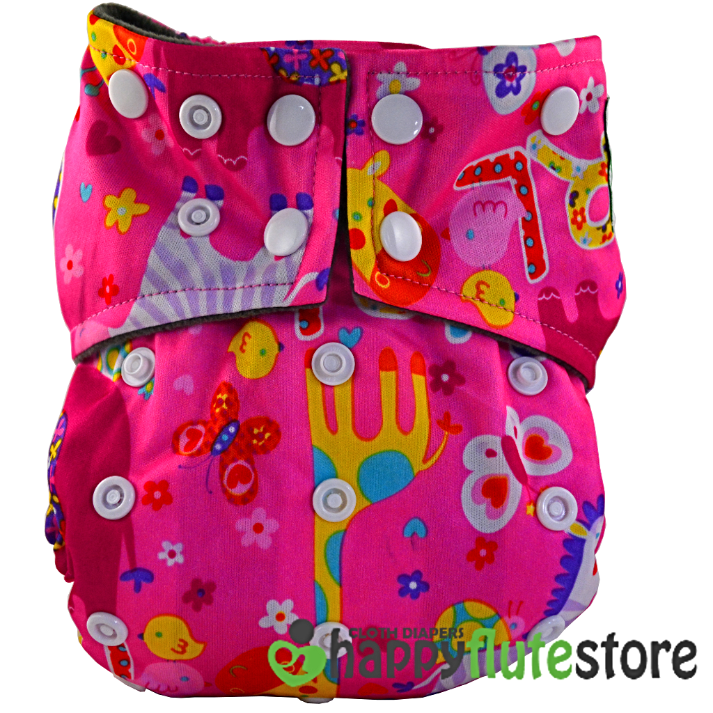 Happy Flute All in One Charcoal Bamboo Cloth Diaper - Girl Power (front)