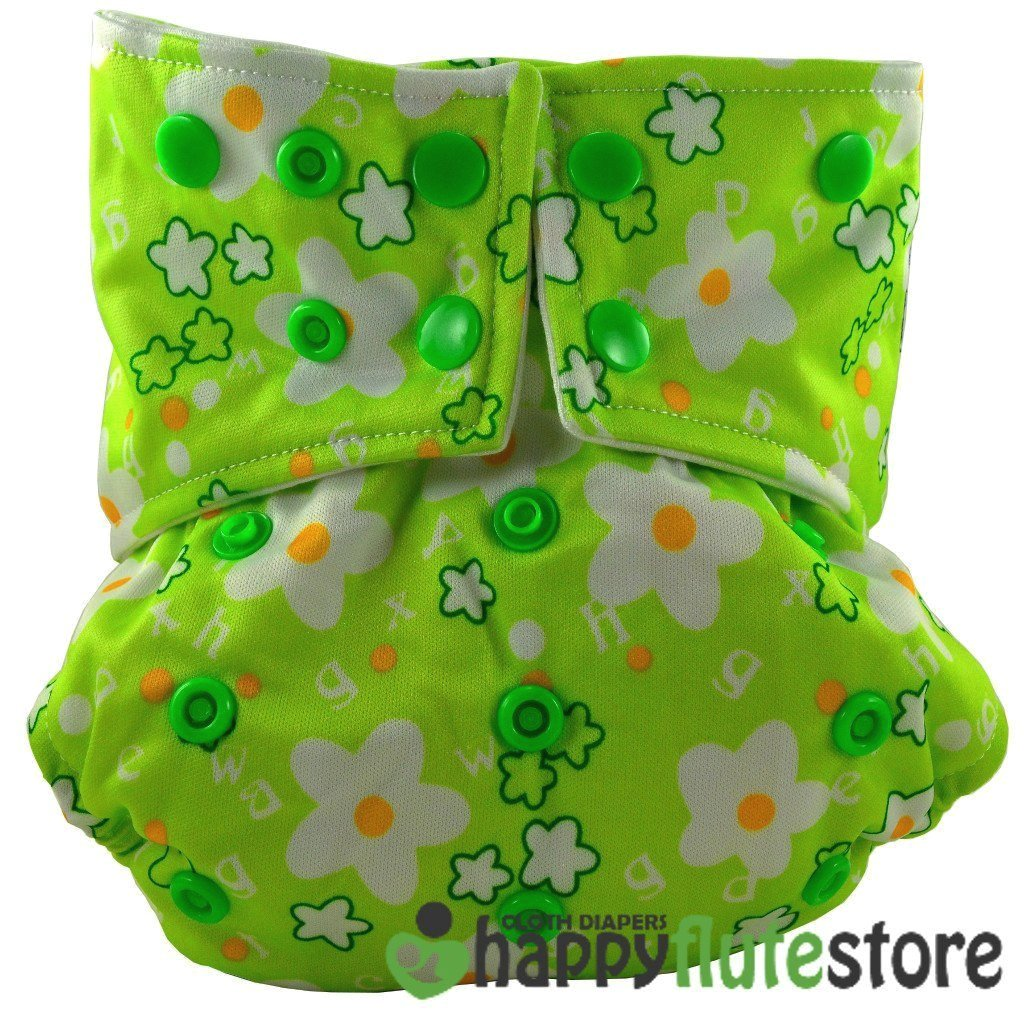 Happy Flute All in One Cotton Bamboo Cloth Diaper - Green Flowers