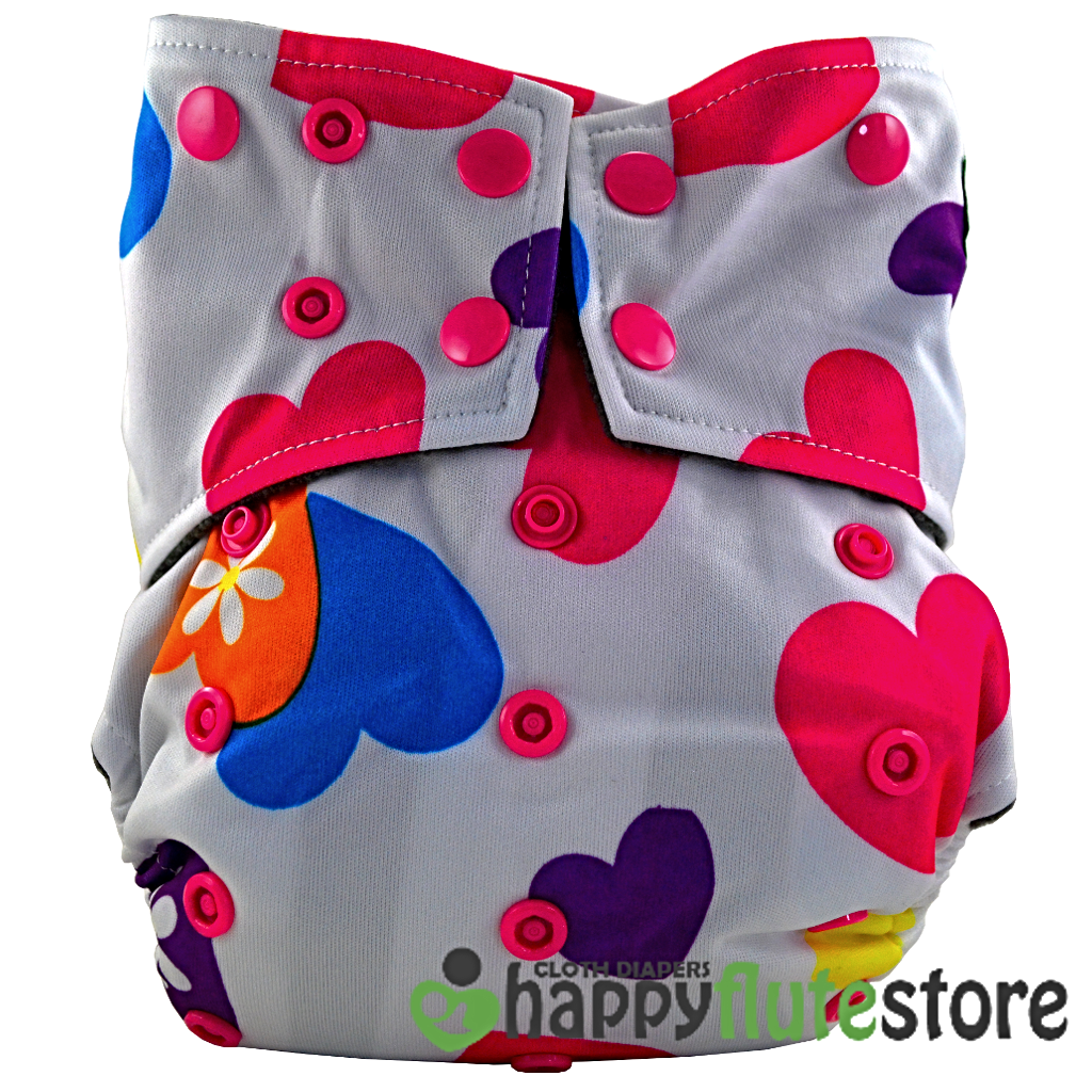 Happy Flute All in One Cotton Bamboo Cloth Diaper - Hearts