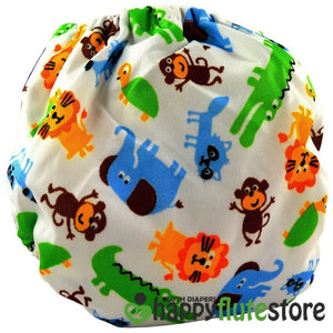 Happy Flute All in One Charcoal Bamboo Cloth Diaper - Jungle (back)