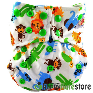 Happy Flute All in One Charcoal Bamboo Cloth Diaper - Jungle