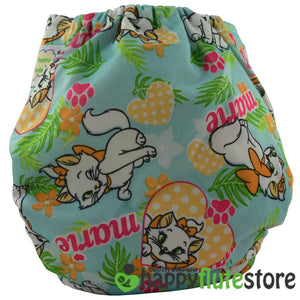 Happy Flute All in One Charcoal Bamboo Cloth Diaper - Kittens (back)