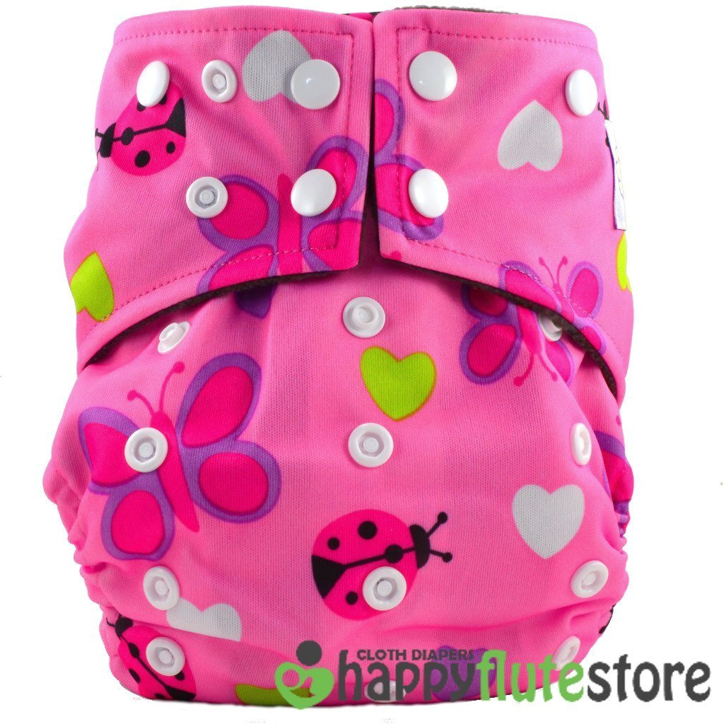 Happy Flute All in One Cotton Hemp Cloth Diaper - Lady Bugs