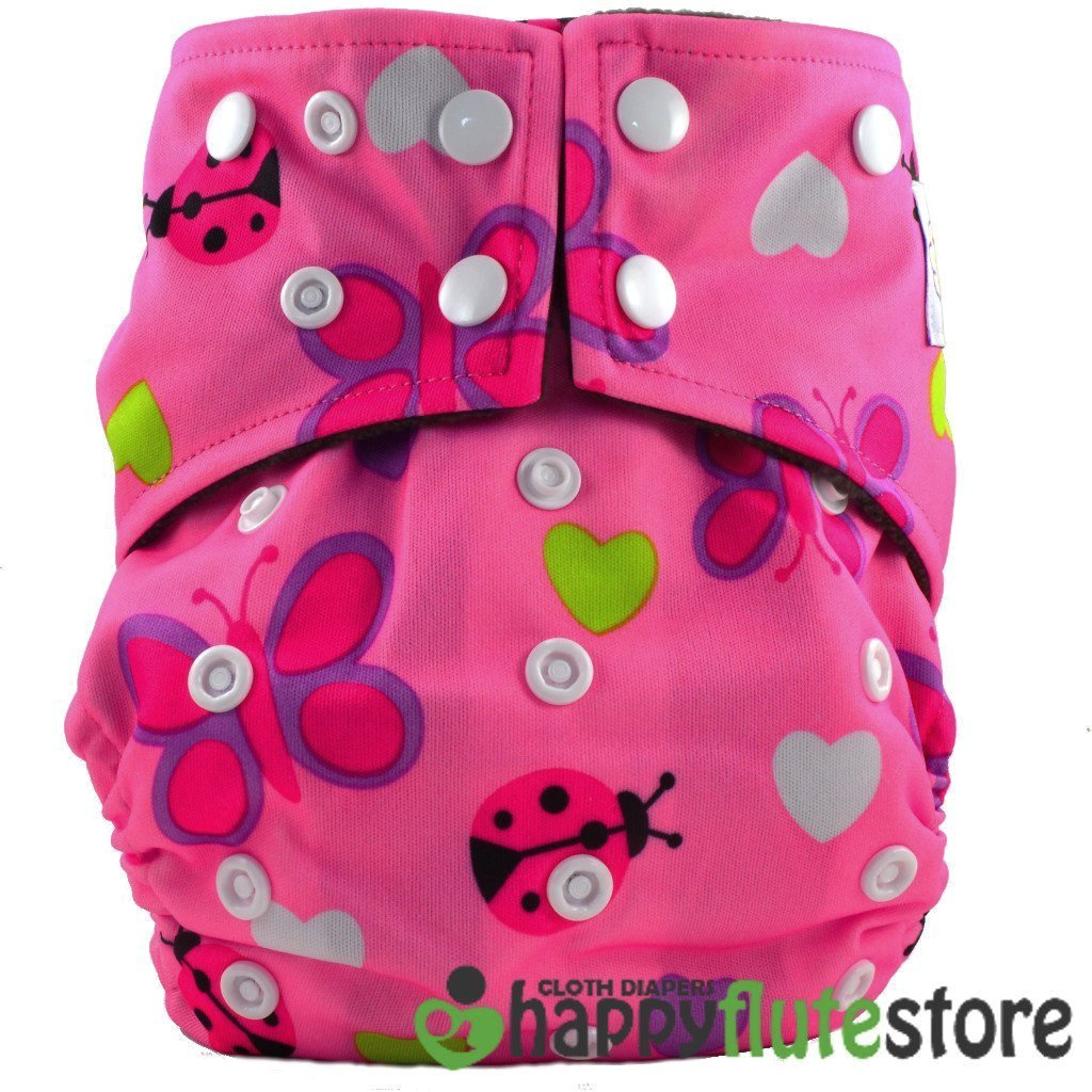 Happy Flute All in One Cotton Bamboo Cloth Diaper - Lady Bugs
