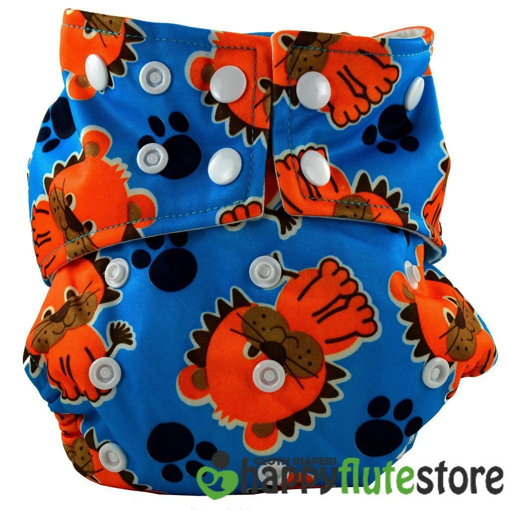 Happy Flute All in One Cotton Bamboo Cloth Diaper - Lion (back)