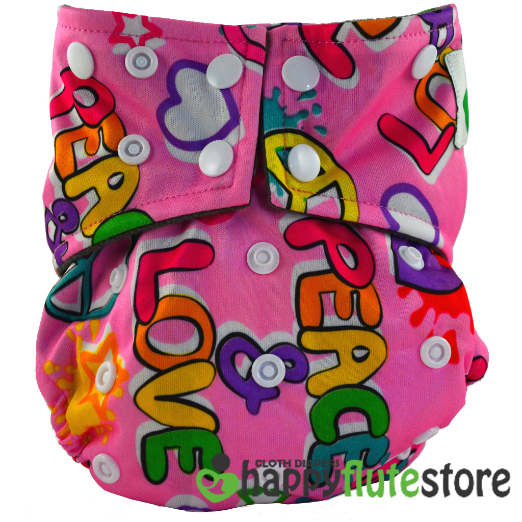 Happy Flute All in One Charcoal Bamboo Cloth Diaper - Love and Peace (front)