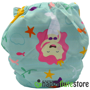 Happy Flute All in One Charcoal Bamboo Cloth Diaper - Mermaid