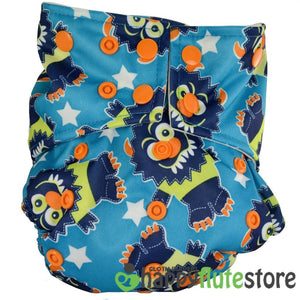 Happy Flute All in One Charcoal Bamboo Cloth Diaper - Monsters
