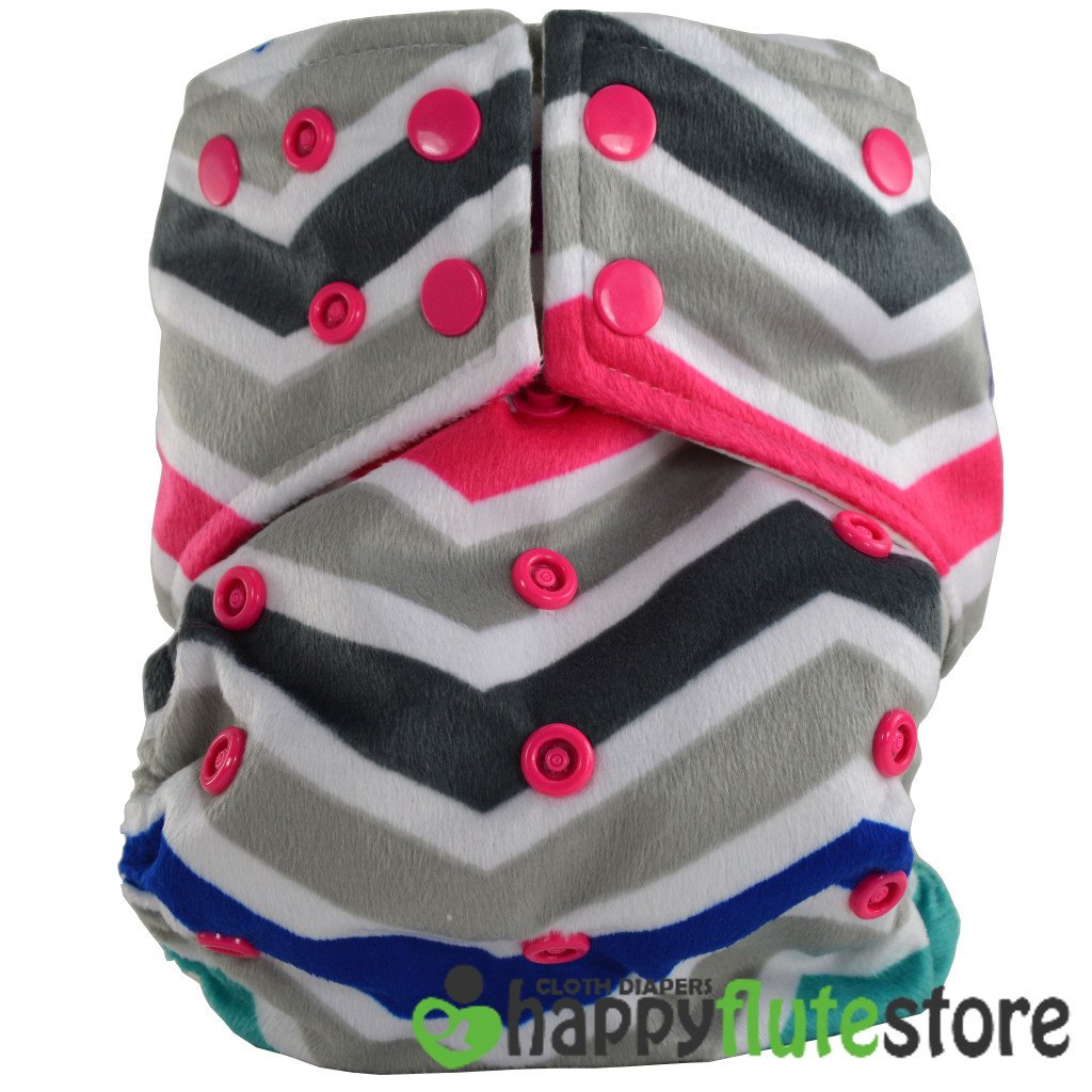 Happy Flute All in One Charcoal Bamboo Cloth Diaper - Multicolor Chevron