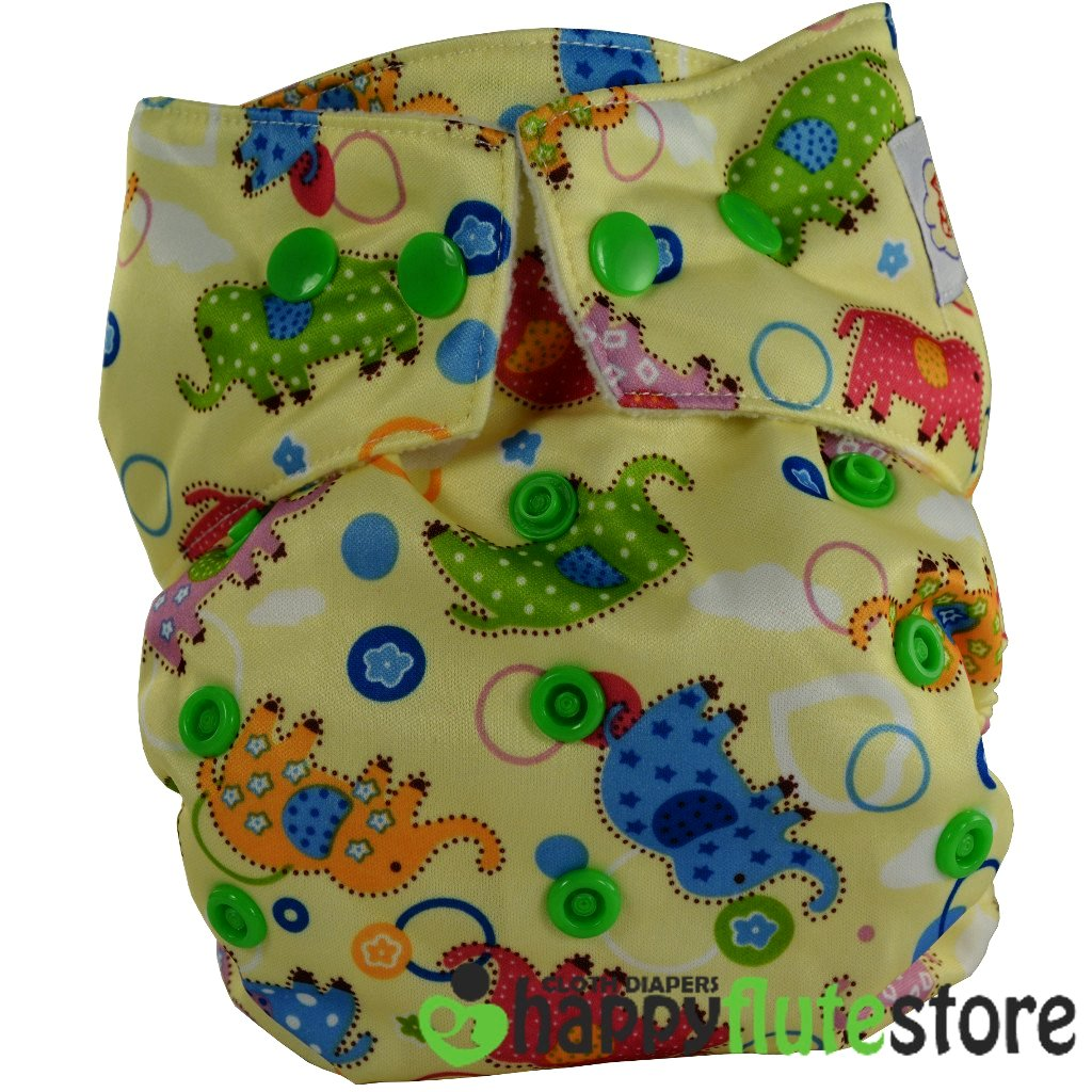 Happy Flute Heavy Wetter Cloth Diaper - Multicolored Elephants