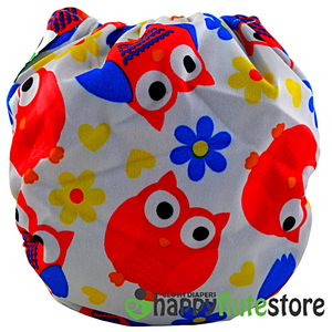 Happy Flute All in One Charcoal Bamboo Cloth Diaper - Orange Owls (back)