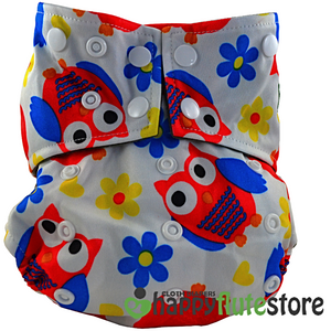 Happy Flute All in One Charcoal Bamboo Cloth Diaper - Orange Owls (front)