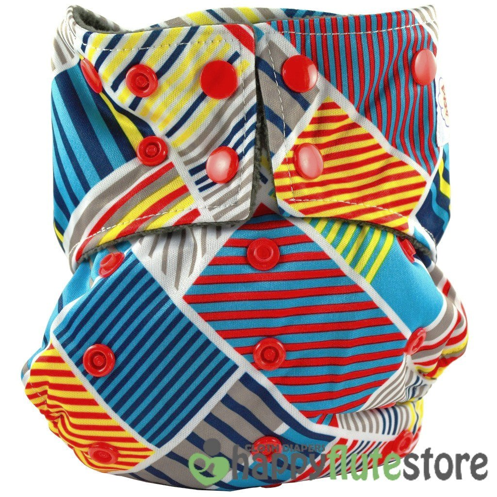 Happy Flute All in One Cotton Bamboo Cloth Diaper - Patchwork