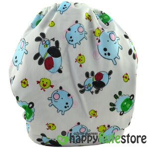 Happy Flute All in One Charcoal Bamboo Cloth Diaper - Pigs (back)