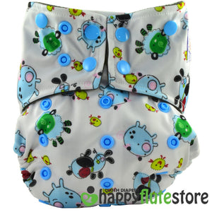 Happy Flute All in One Charcoal Bamboo Cloth Diaper - Pigs (front)