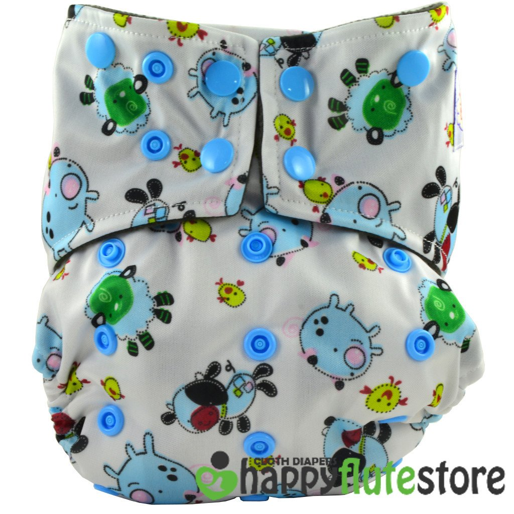 Happy Flute All in One Cotton Bamboo Cloth Diaper - Pigs