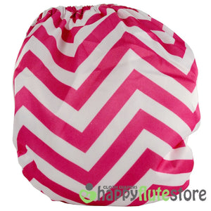 Happy Flute Heavy Wetter Cloth Diaper - Pink Chevron (back)
