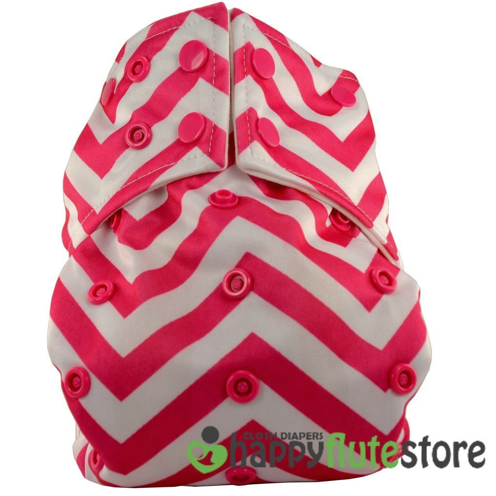 Happy Flute All in One Cotton Bamboo Cloth Diaper - Pink Chevron