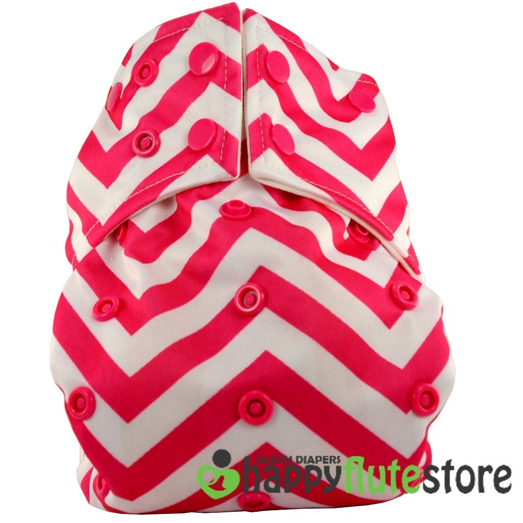 Happy Flute All in One Charcoal Bamboo Cloth Diaper - Pink Chevron