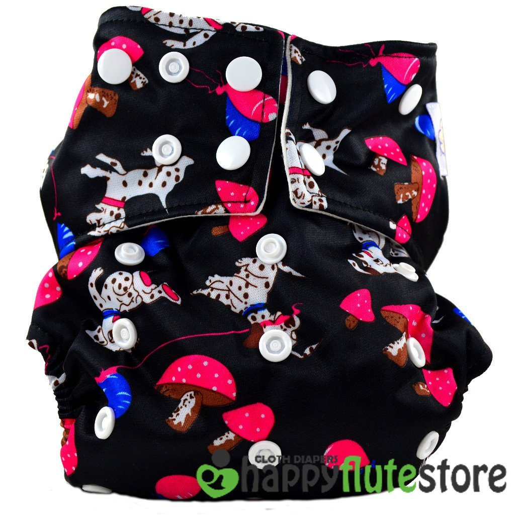 Happy Flute All in One Cotton Bamboo Cloth Diaper - Pink Dalmatians