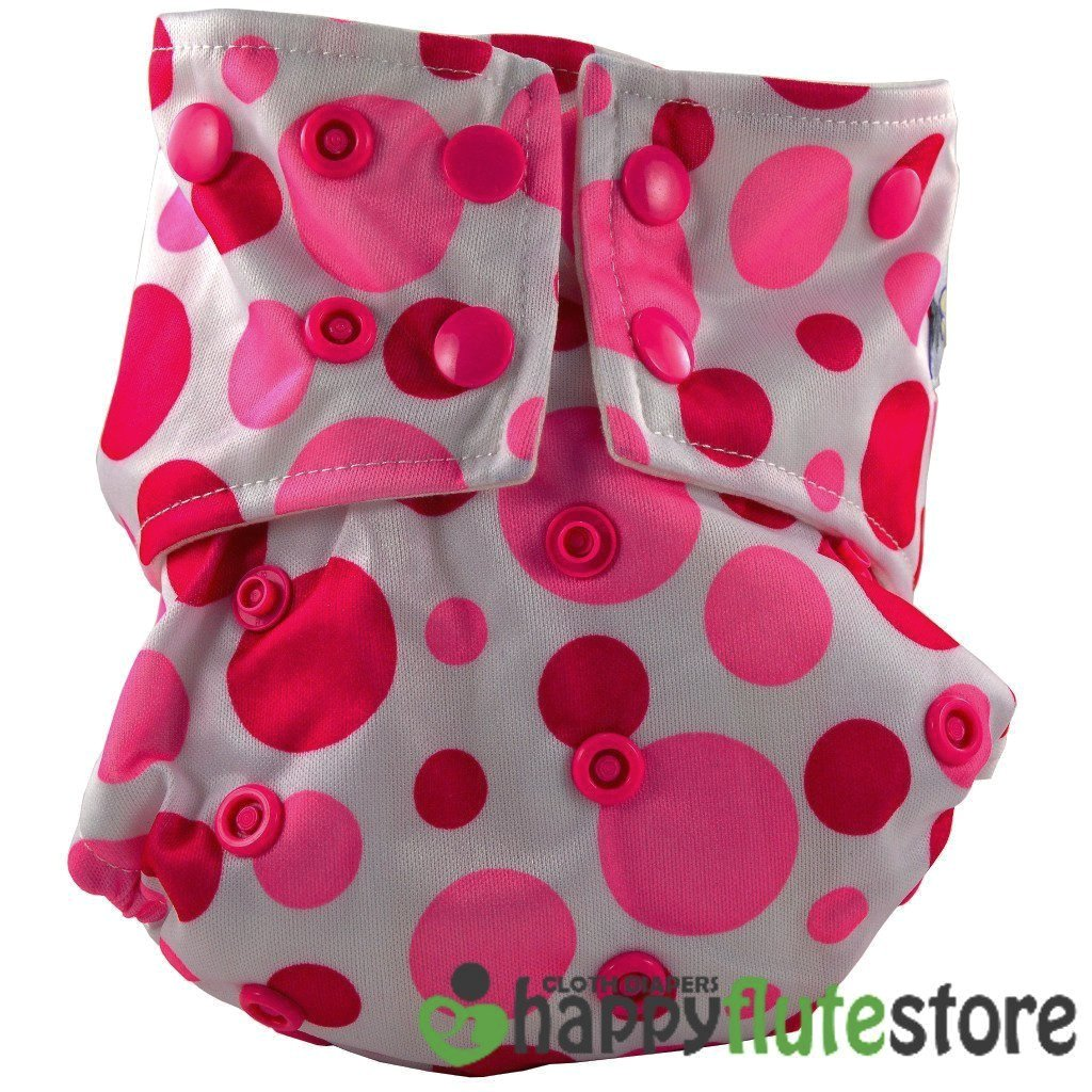 Happy Flute All in One Cotton Bamboo Cloth Diaper - Pink Dots