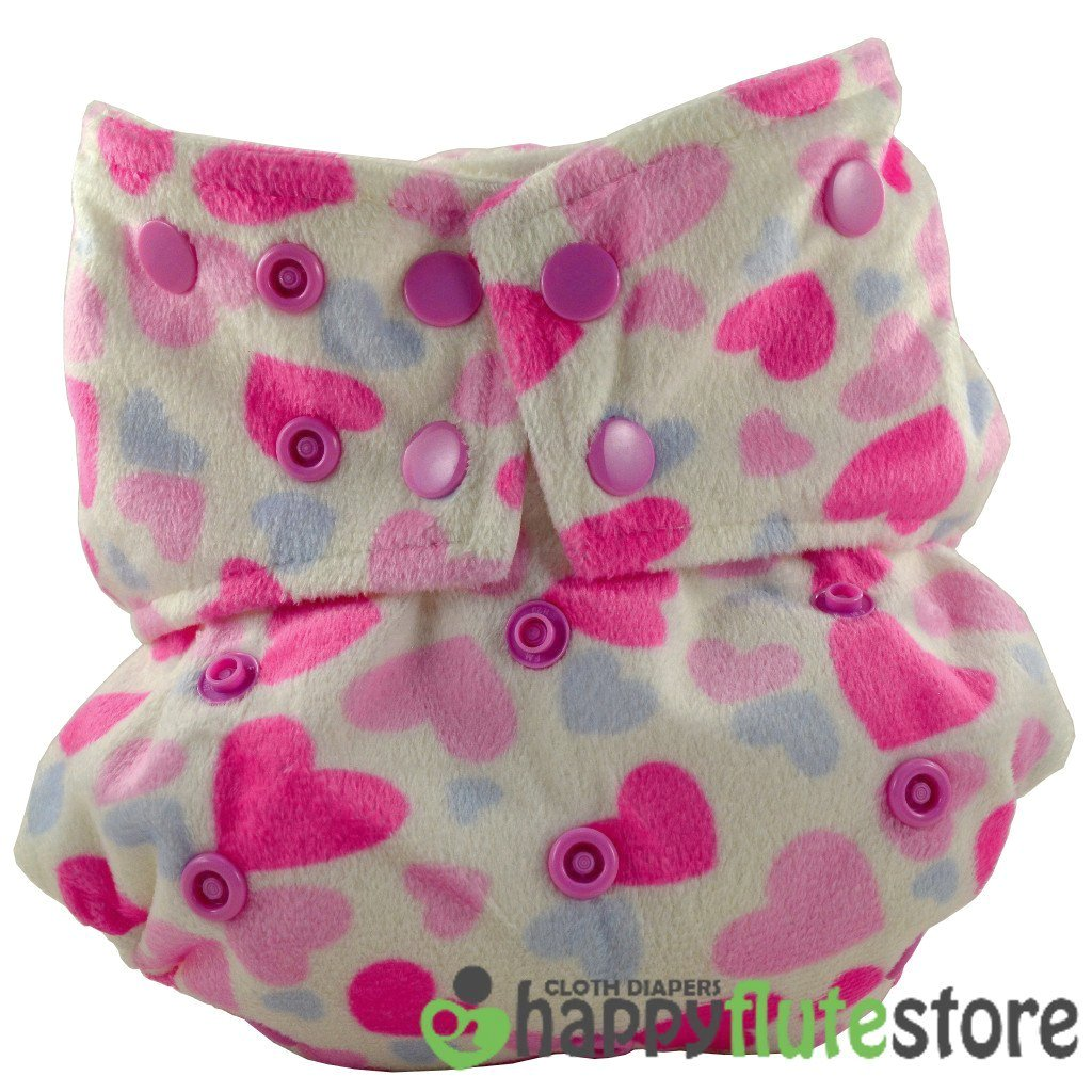 Happy Flute All in One Cotton Hemp Cloth Diaper - Pink Hearts