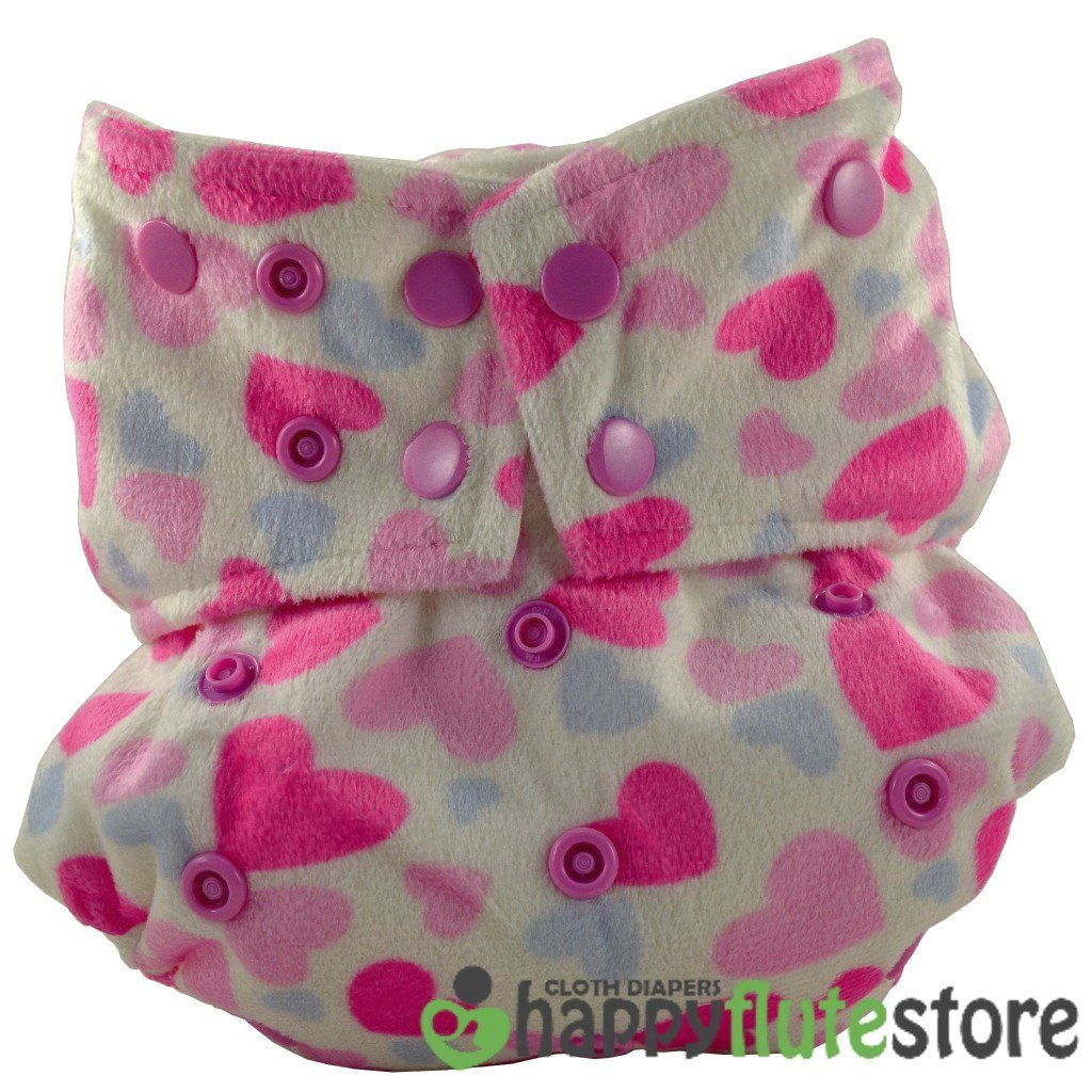 Happy Flute All in One Cotton Bamboo Cloth Diaper - Pink Hearts