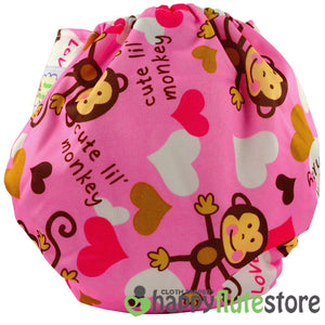 Happy Flute Pocket Cloth Diaper - Pink Monkey (back)